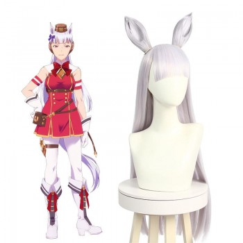 Uma Musume: Pretty Derby Gold Ship White Long Cosplay Wigs With Ears