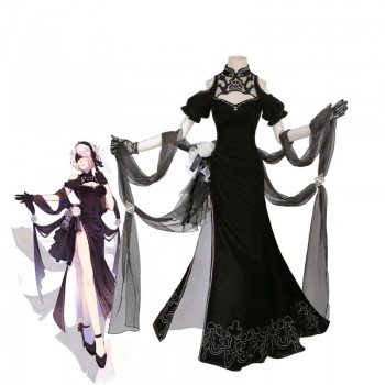 Video Game Nier: Automata Game 2B Black cheongsam Cosplay Costume