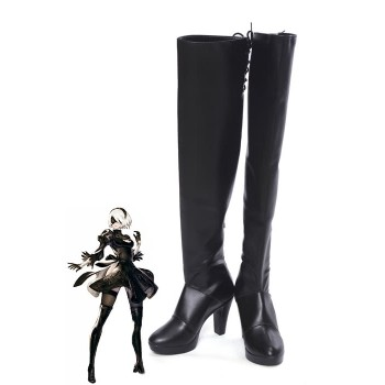 Video Game Nier Mechanical Era 2B Black Game Cosplay Shoes