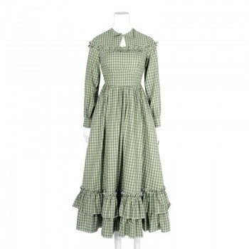 Women Long Sleeves Green Plaid Long Skirt