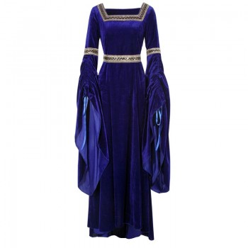 Women Renaissance Victorian Medieval Dark Blue Long Vintage Dress