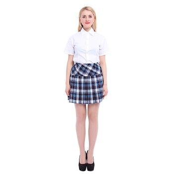 Women's Elastic High Waist Pleated School Uniforms Plaid Skirts Blue Cosplay Dress